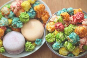 Colorful Candied Popcorn by whocaresme