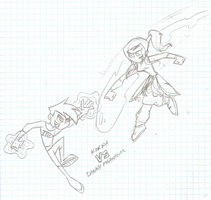 SKETCH: Korra VS Danny Phantom by JackiePhantom13