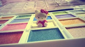painting and hello kitty by megayay