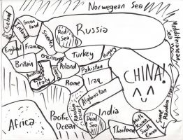 Map of Europe and Asia by Avi-Aerias