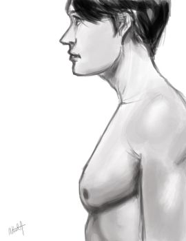 Sketch - Male Side View by mikaelabrina