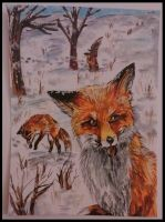 hunting foxes /ACEO commission by GingerAdy