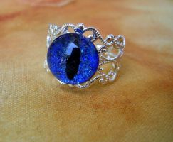 Ring - Blue Dragon Scale Glow Eye Ring by LadyPirotessa