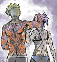 Naruto and Sakura AU Tattoo Edition Back by opera-de-glace