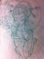 Japanese geisha sketch by 5stardesigns