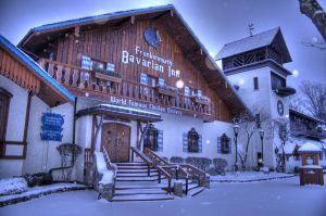 Bavarian Inn Morning Snow HDR by jrbamberg