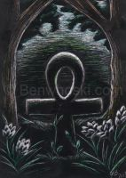 ACEO Forest Ankh Shrine by benwhoski