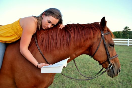 Girl Book Horse by robicus