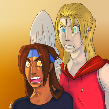 Uriel and Ben looking at something by ttnt