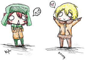 X- Chibi Kyle and Kenny -X by MidnightLenLover