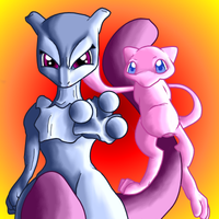 Mew and Mewtwo by PipeDreamNo20