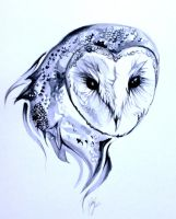 Barn Owl Tattoo by Lucky978