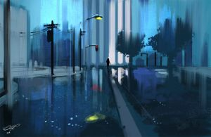 Speedpaint - Rain City by danielbogni