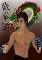 Bruce Lee Portrait. by Martin-Saelens