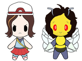 Egoraptor Blue and BeeDanny Sexbang Chibis by Bloody-Uragiri
