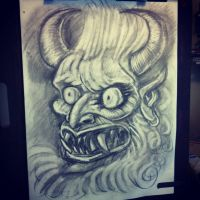 Random Japanese Demon Head by rawjawbone