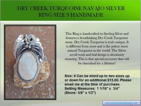 Dry Creek Turquoise Navajo Silver Ring Size 9 Hand by mesaverde1