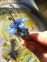 Silver and Blue Fairy Flower Ring by TheWingedBoggart