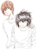 Light Yagami and L by AthenaGranger