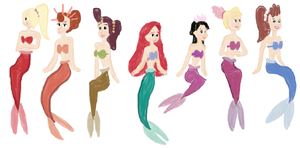 Ariel and Her Sisters: The Little Mermaid. by TornadosAdoptables