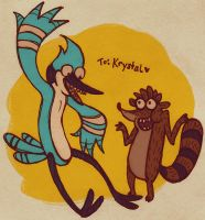 mordecai + rigby by stehfuhknee