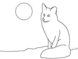 Fox on a calm night - lineart by Harry-Potter-Addict