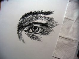 charcoal drawing - eye - 1. by xe3tec