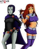 Teen Titan StarFire and Raven by KnovaArt