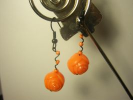 Zany Orange Rose Earrings by Scarletts-Fever