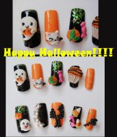 HAPPY HALLOWEEN, GHOST 3D NAIL by jadelushdesigns