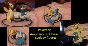 Pokemon: Ampharos and Altaria sculpey figures by Catty-Mintgum