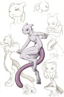 Mewtwo doodles by DarkKitsunegirl