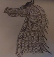 Fourth Attempt at drawing a dragon's head and neck by JAWALORD