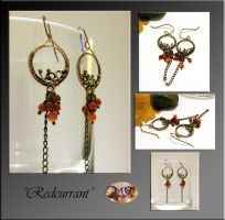 Redcurrant- wire wrapped earrings by mea00