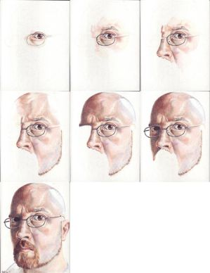 In progress scans of colored pencil drawing Self Portrait II