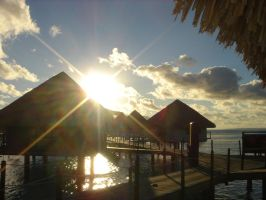 Sunset in Tahiti by lizzette