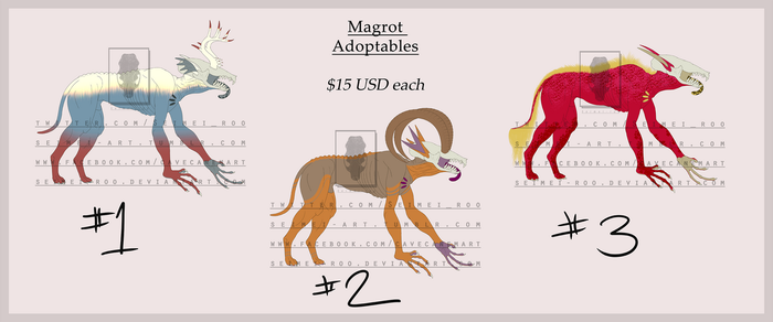 Magrot Adoptables 3/3 OPEN by Seimei-roo