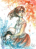 Indiana Comic Con - Chell Painting Demo by ExiledChaos