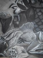 Still Life of Shells, Fish, Cloth, Flowers, Owl by InsanePaintStripes