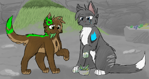 Smallpaw and Mirrorwing by CascadingSerenity