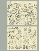 Monster Page of Sketches by AmeliaDDraws