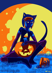 Halloween:MOON:candycorn by RedVioletPanda