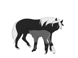 Mother and Foal WIP by WoofMewMew