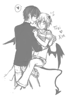 Trei and Xin doodle by akiicchi