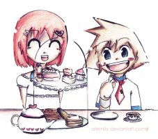 Kairi+Sora: tea party anyone? by aternity