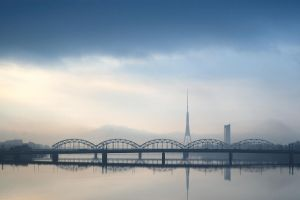 Sleepy morning rises over Riga by trakais