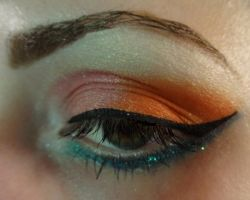 Blue, Orange, and Pink Makeup by vampireleniore