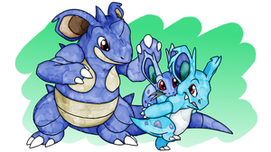 Nidoran[Female] Family [SpeedPaint and brushes DL]
