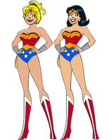 Betty and Veronica as Wonder Woman by darthraner83