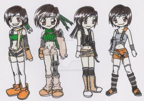 Yuffie through all FF7s by SuzumiSakuma